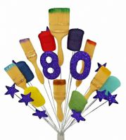 Painter and decorator 80th birthday cake topper decoration (purple) - free postage